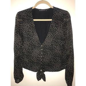 Abercrombie tie-front leopard blouse